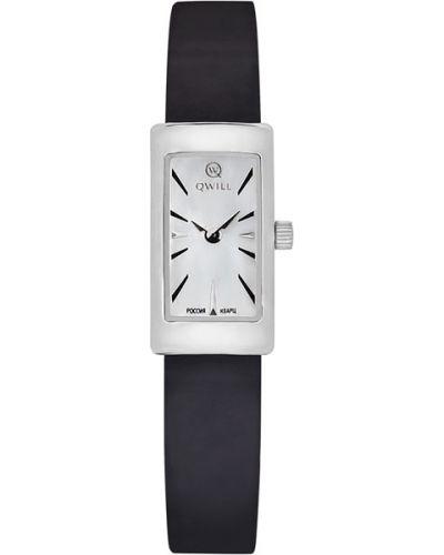 Часы на кожаном ремешке кварцевые серебряный Qwill