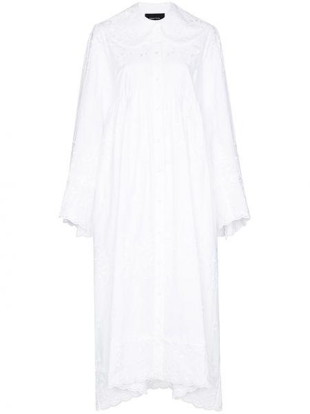 Кружевное белое платье с воротником из вискозы Simone Rocha