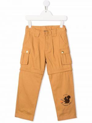 Beżowe spodnie z haftem Mini Rodini