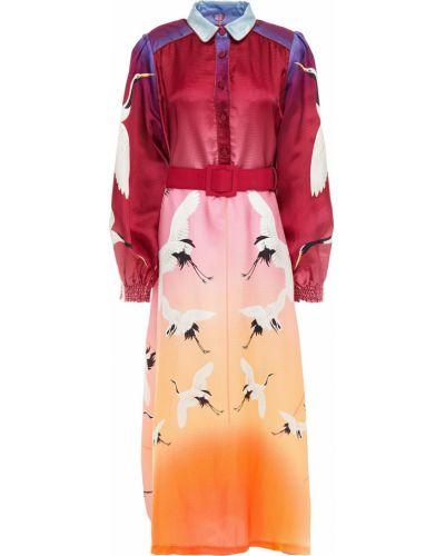 Fioletowa satynowa sukienka midi z paskiem F.r.s For Restless Sleepers