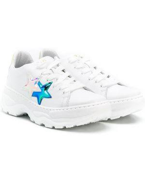 Кожаные белые кроссовки на шнуровке с заплатками 2 Star Kids