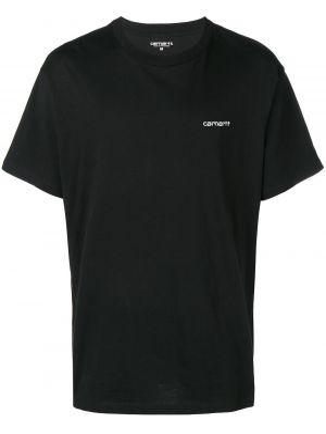 Хлопковая черная футболка с вышивкой с круглым вырезом Carhartt