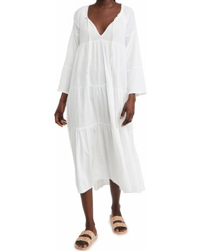 Белое платье макси с длинными рукавами с декольте 9seed