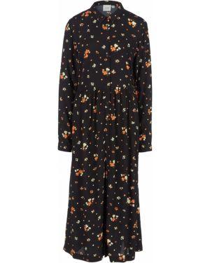 Платье миди с цветочным принтом черное Ichi