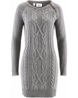 Платье серое вязаное Bonprix