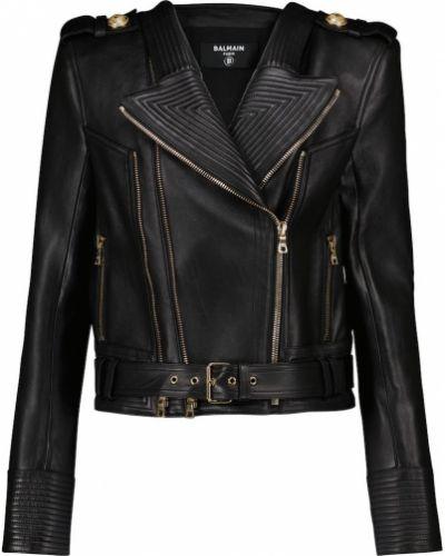 Черная кожаная куртка Balmain