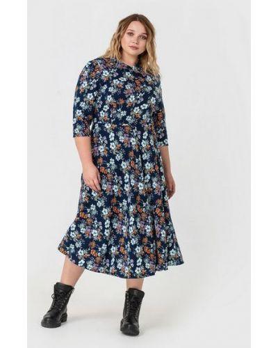 Синее платье оверсайз с воротником из штапеля Vovk
