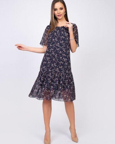 Шифоновое с рукавами платье со складками Diolche