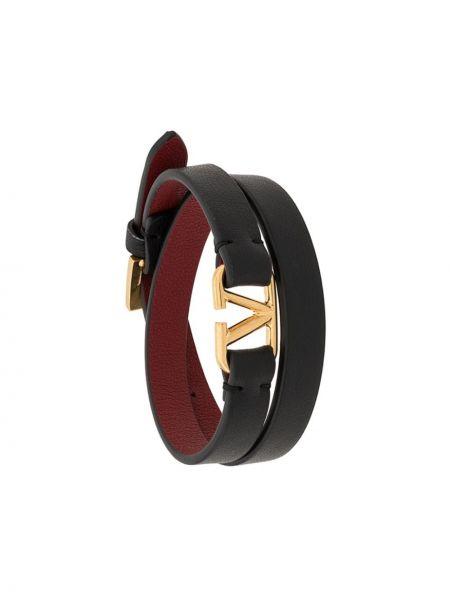 Skórzany bransoletka ze złota czarny Valentino