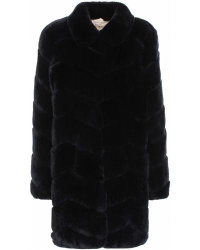 Синее кожаное пальто Yves Salomon Meteo