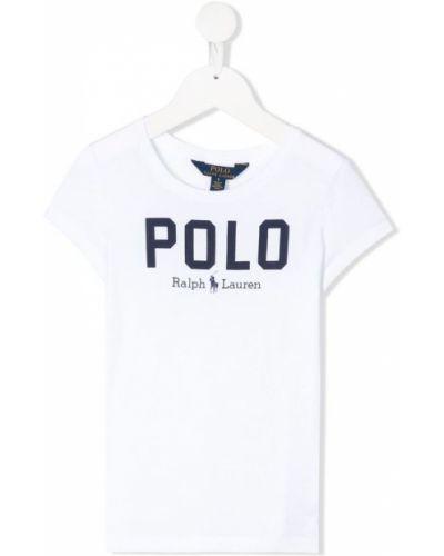 Biały sweter bawełniany z printem Ralph Lauren