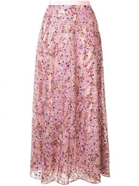 Różowa spódnica z wysokim stanem Delpozo