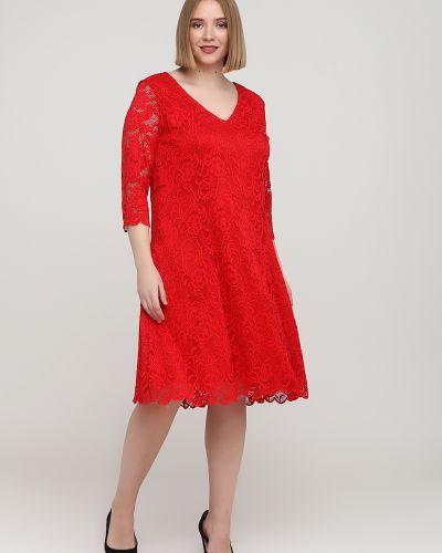 Расклешенное ажурное красное платье Junarose