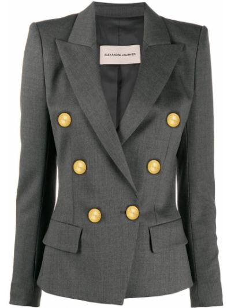 Шерстяной серый пиджак двубортный Alexandre Vauthier