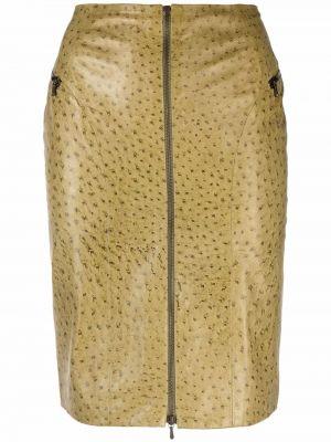 Zielona spódnica skórzana Christian Dior
