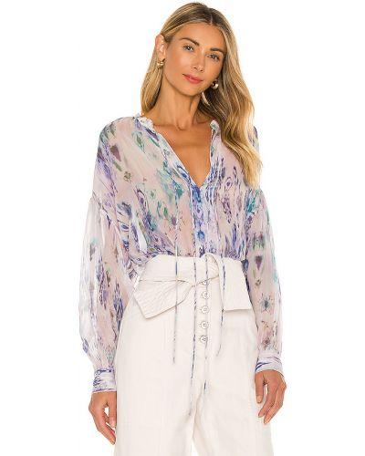 Fioletowy bluzka z dekoltem z wiskozy zabytkowe Iro