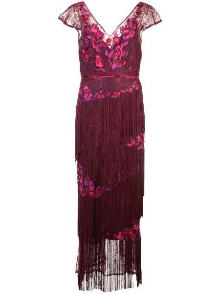 Красное платье с бахромой с V-образным вырезом Marchesa Notte