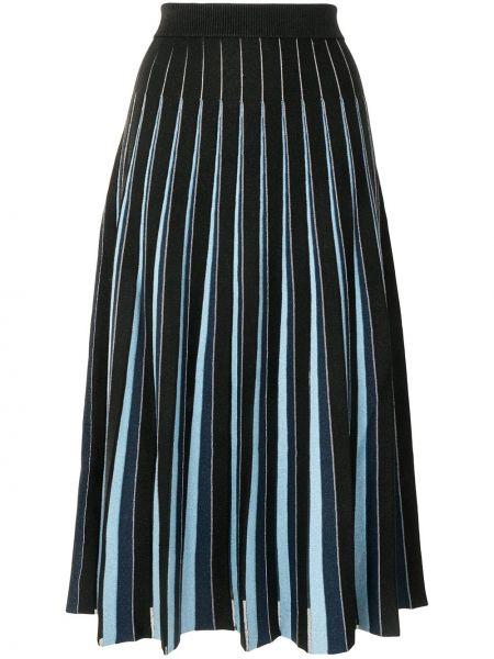Niebieski pofałdowany spódnica midi z paskami z wiskozy Jonathan Simkhai