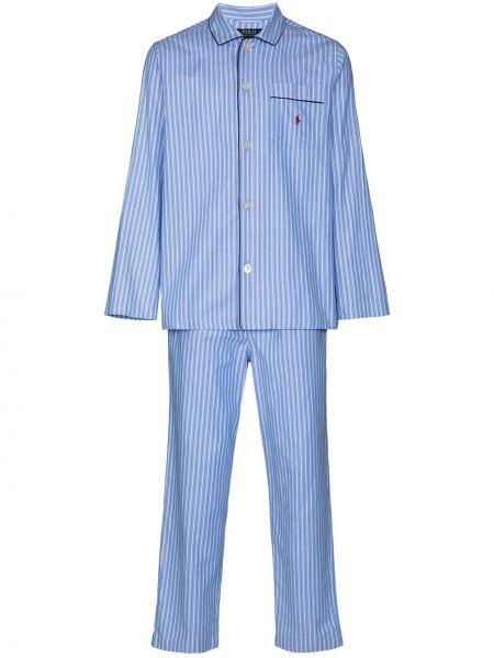 Niebieska piżama bawełniana w paski Polo Ralph Lauren