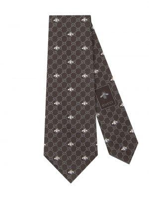 Krawat z wzorem beżowy Gucci