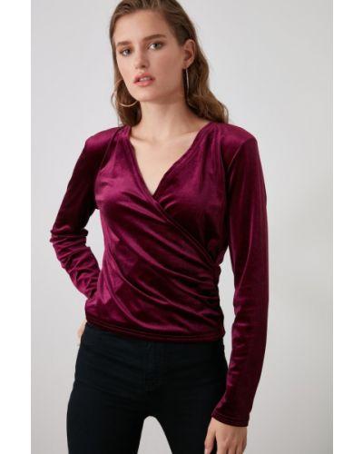 Fioletowa bluzka z długimi rękawami z aksamitu Trendyol