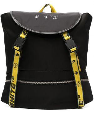 Czarny plecak skórzany klamry Off-white