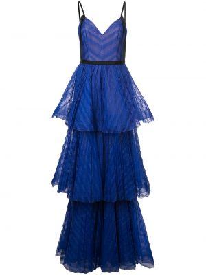 Платье макси длинное - синее Marchesa Notte