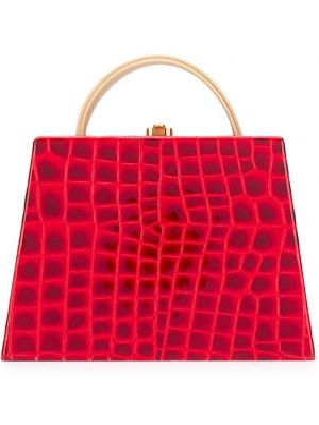 Золотистая красная сумка-тоут круглая с тиснением Rocio