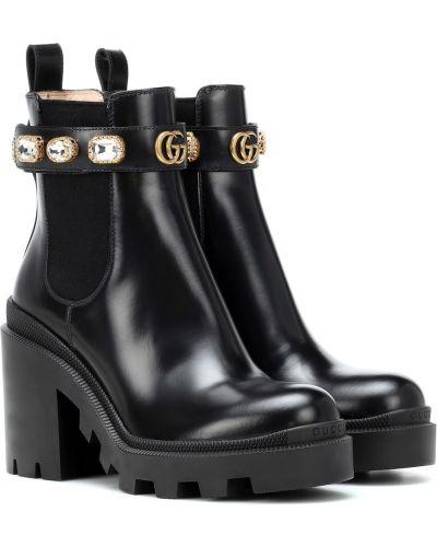 Домашние черные ботинки челси Gucci