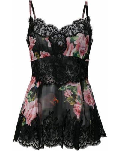 Топ кружевной с цветочным принтом Dolce & Gabbana