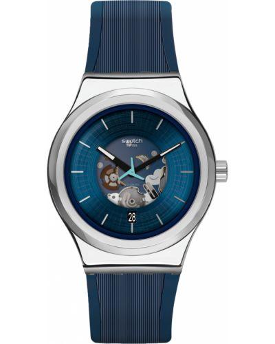Синие акриловые со стрелками часы механические Swatch