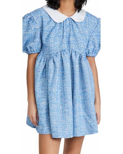 Синее платье мини твидовое с карманами Sister Jane