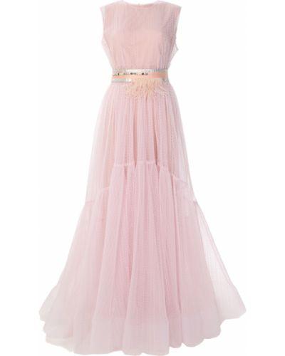 Шелковое вечернее платье с поясом с сеткой Ma Ya