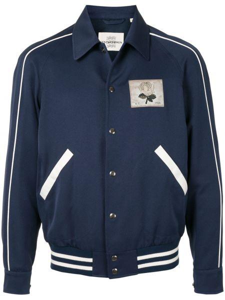Niebieska długa kurtka z haftem bawełniana Kent & Curwen