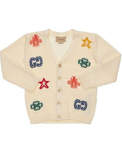 Biały kardigan bawełniany perły Gucci