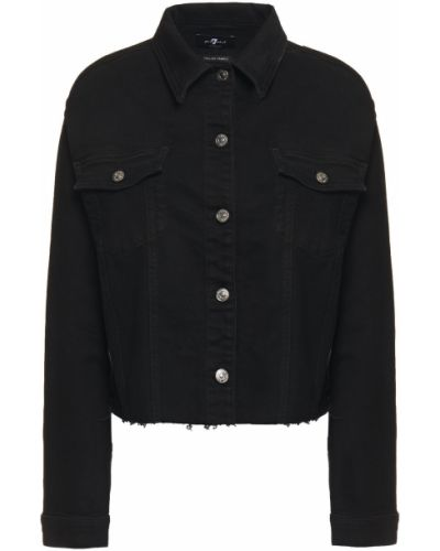 Ватная черная джинсовая куртка с бахромой 7 For All Mankind