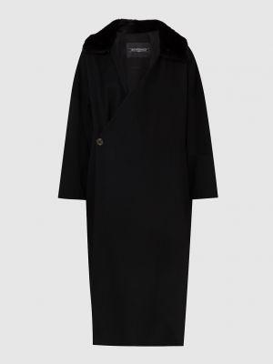 Черное пальто с мехом Simonetta Ravizza
