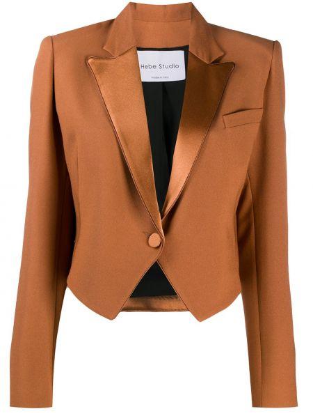 Коричневый классический пиджак с карманами на пуговицах Hebe Studio