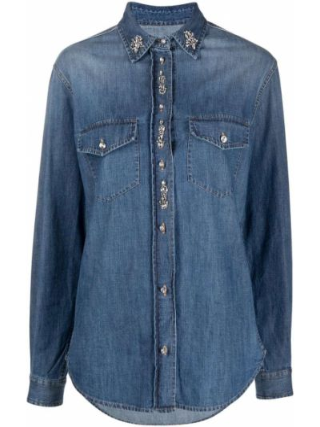 Prosto bawełna bawełna z rękawami koszula jeansowa Ermanno Ermanno