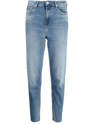 Хлопковые синие укороченные джинсы на пуговицах Tommy Hilfiger