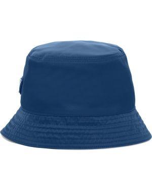 Niebieski kapelusz bawełniany Prada