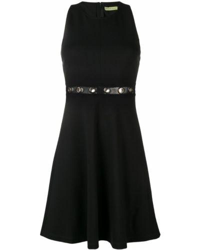 Черное расклешенное джинсовое платье Versace Jeans