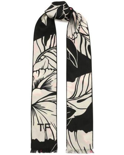 Шелковый белый шарф Tom Ford