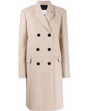 Прямое шерстяное бежевое длинное пальто Calvin Klein