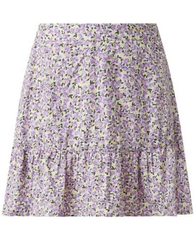 Fioletowa spódnica mini rozkloszowana z falbanami Vero Moda