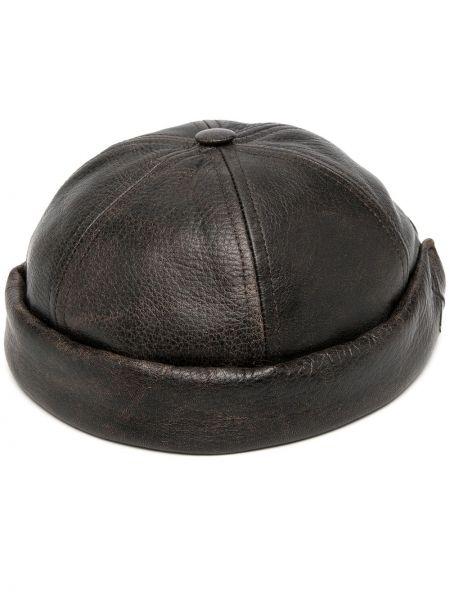 Brązowy kapelusz skórzany Junya Watanabe
