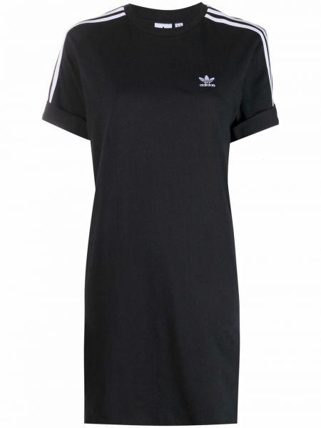 Прямое черное платье мини с вырезом Adidas