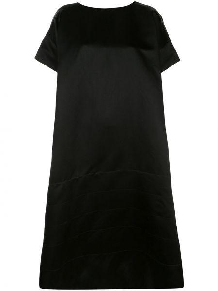 С рукавами шелковое черное платье миди Zanini