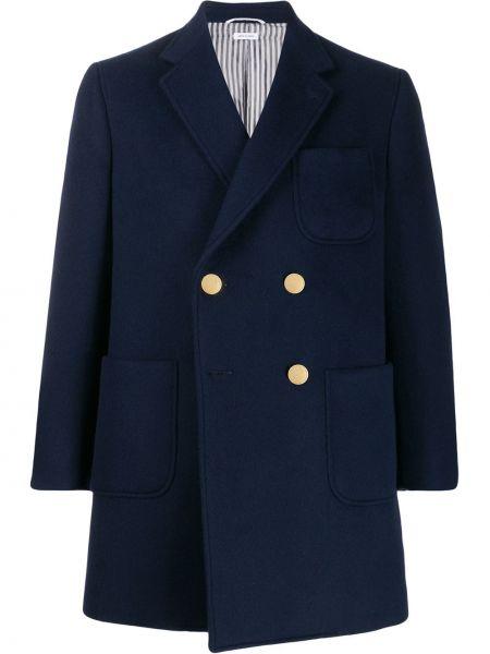 Кашемировое синее длинное пальто двубортное Thom Browne