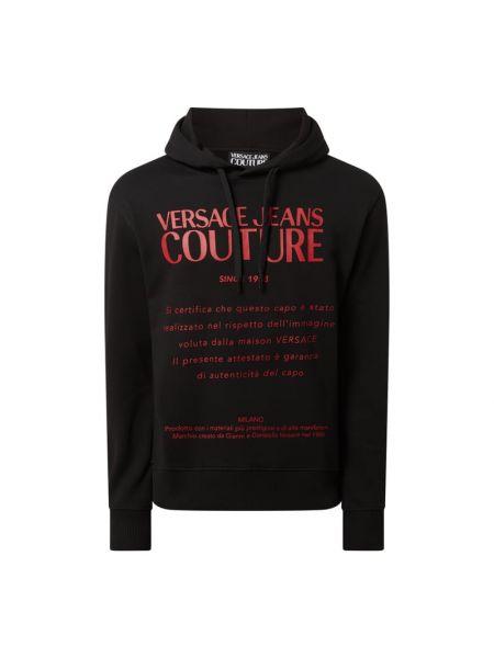Czarna bluza z kapturem bawełniana Versace Jeans Couture